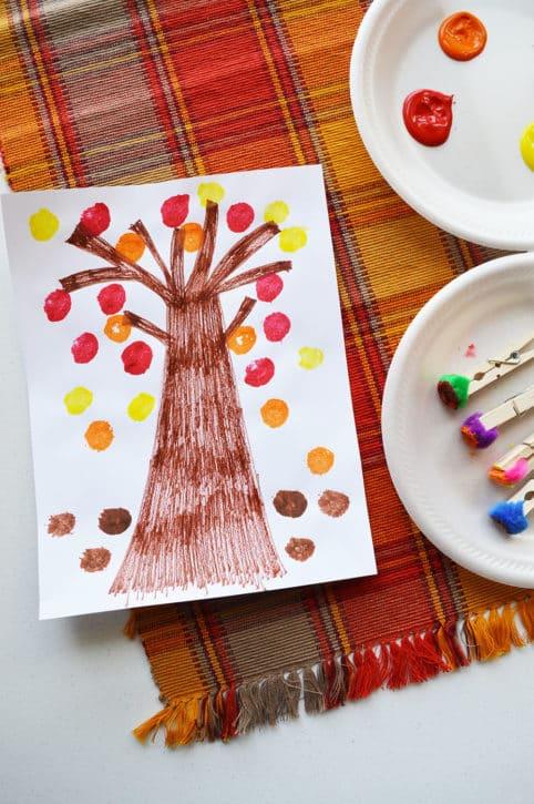 Pom Pom Fall Leaf Painting