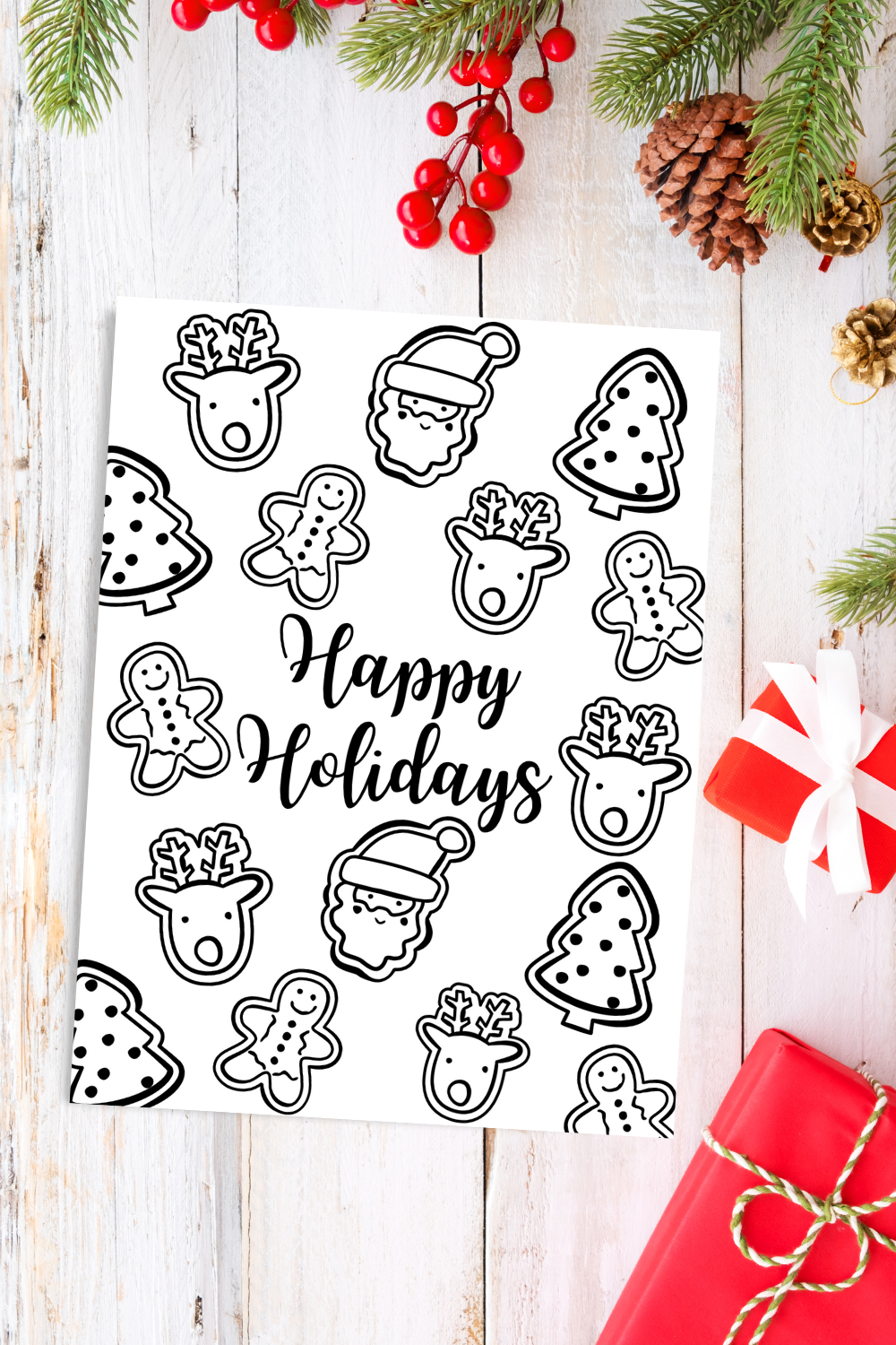 Happy Holidays Coloring Page Free Printable