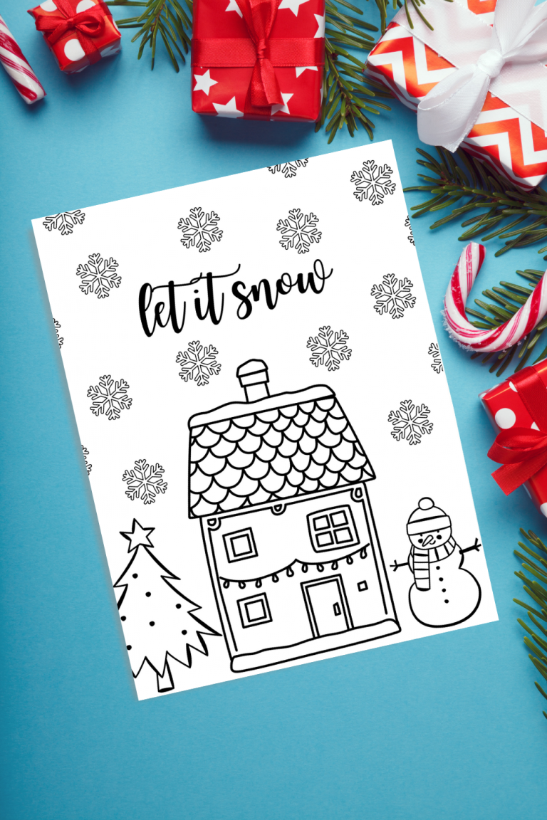 Let it Snow Christmas Coloring Page Free Printable