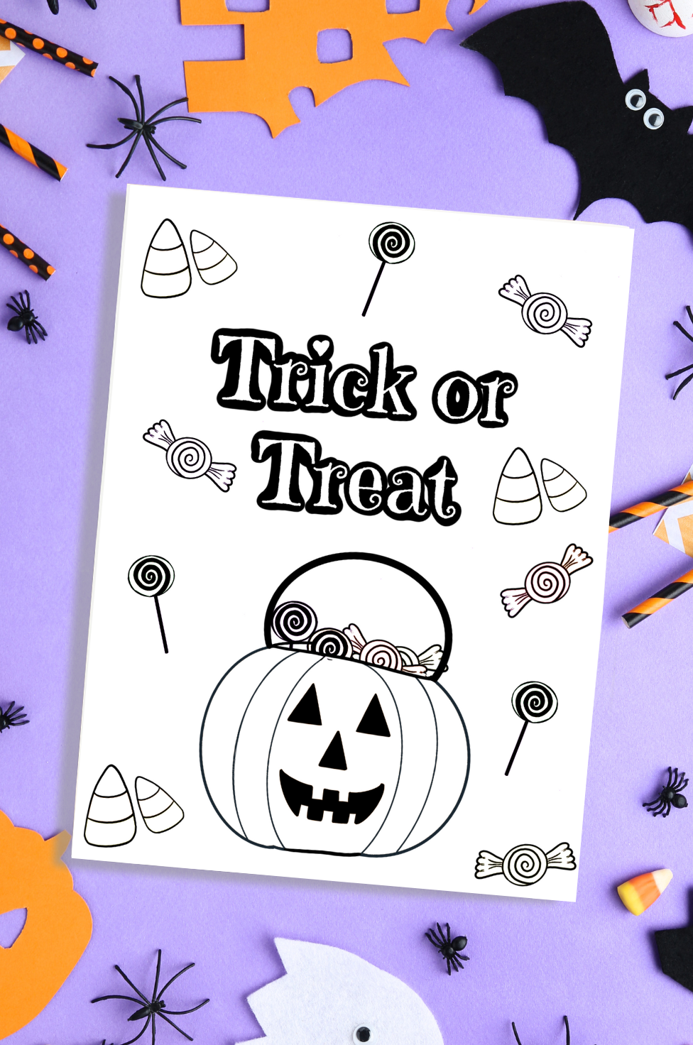 Free Printable Trick or Treat Halloween Coloring Page