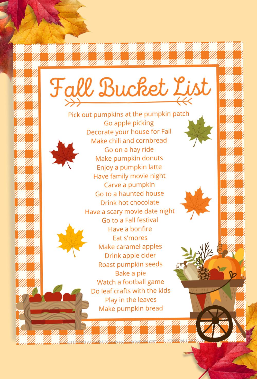 Fall Bucket List Free Printable