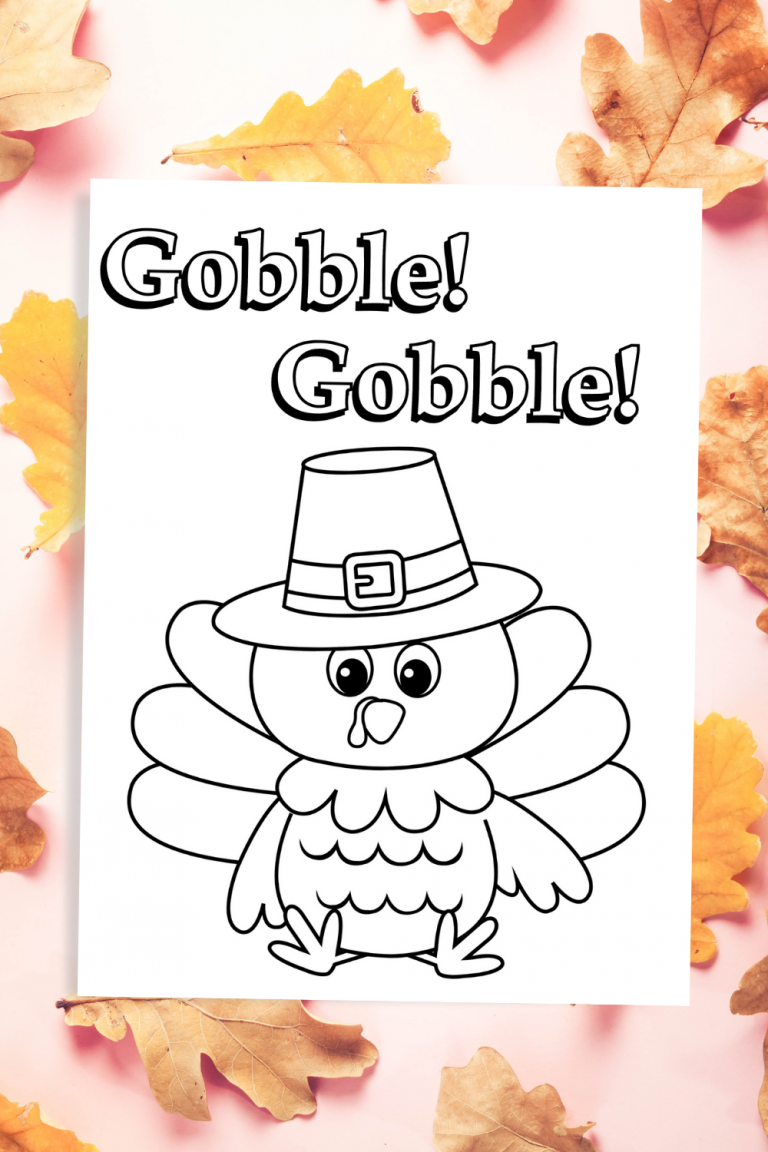 Gobble Gobble Thanksgiving Coloring Page Free Printable