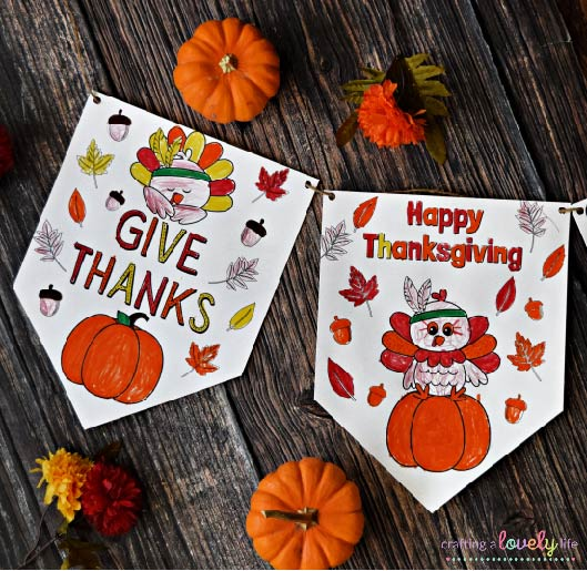 Thanksgiving Banner Coloring Pages