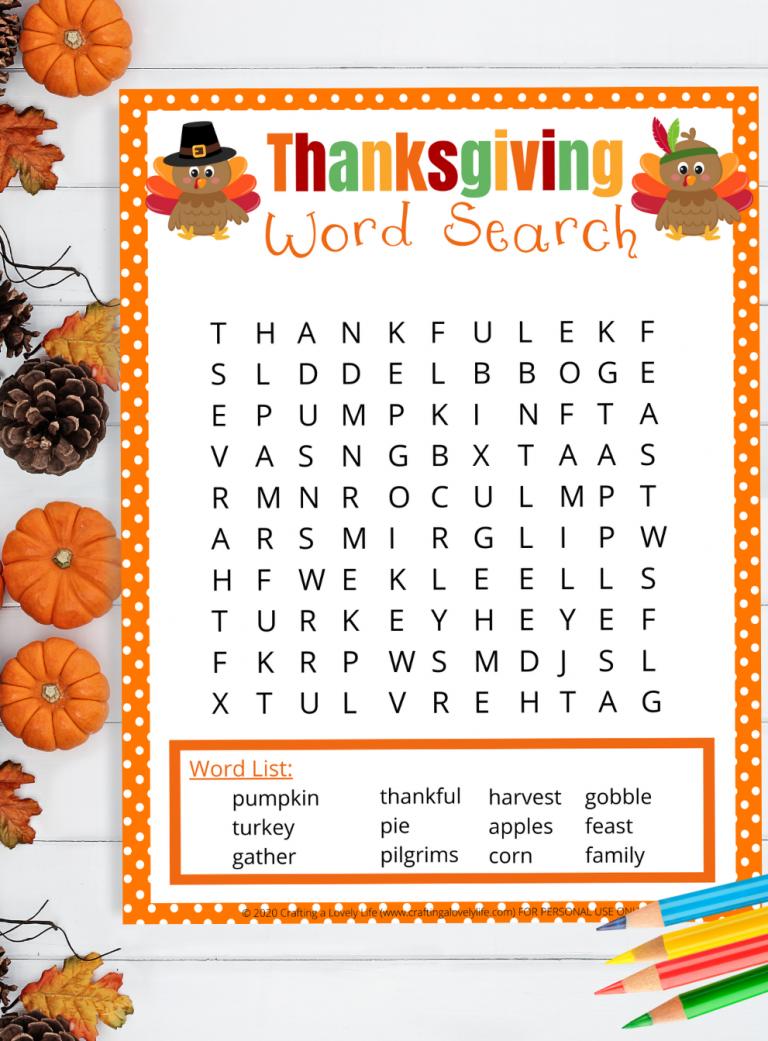 Thanksgiving Word Search Free Printable