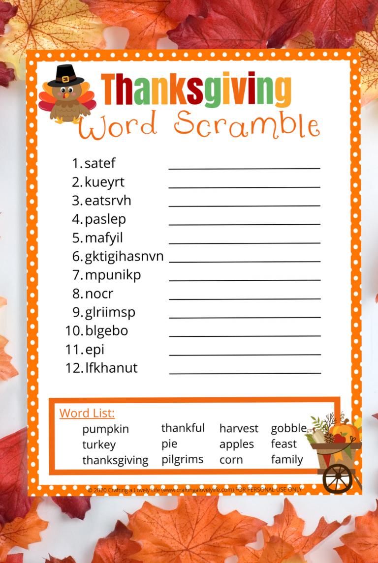 Thanksgiving Word Scramble Free Printable