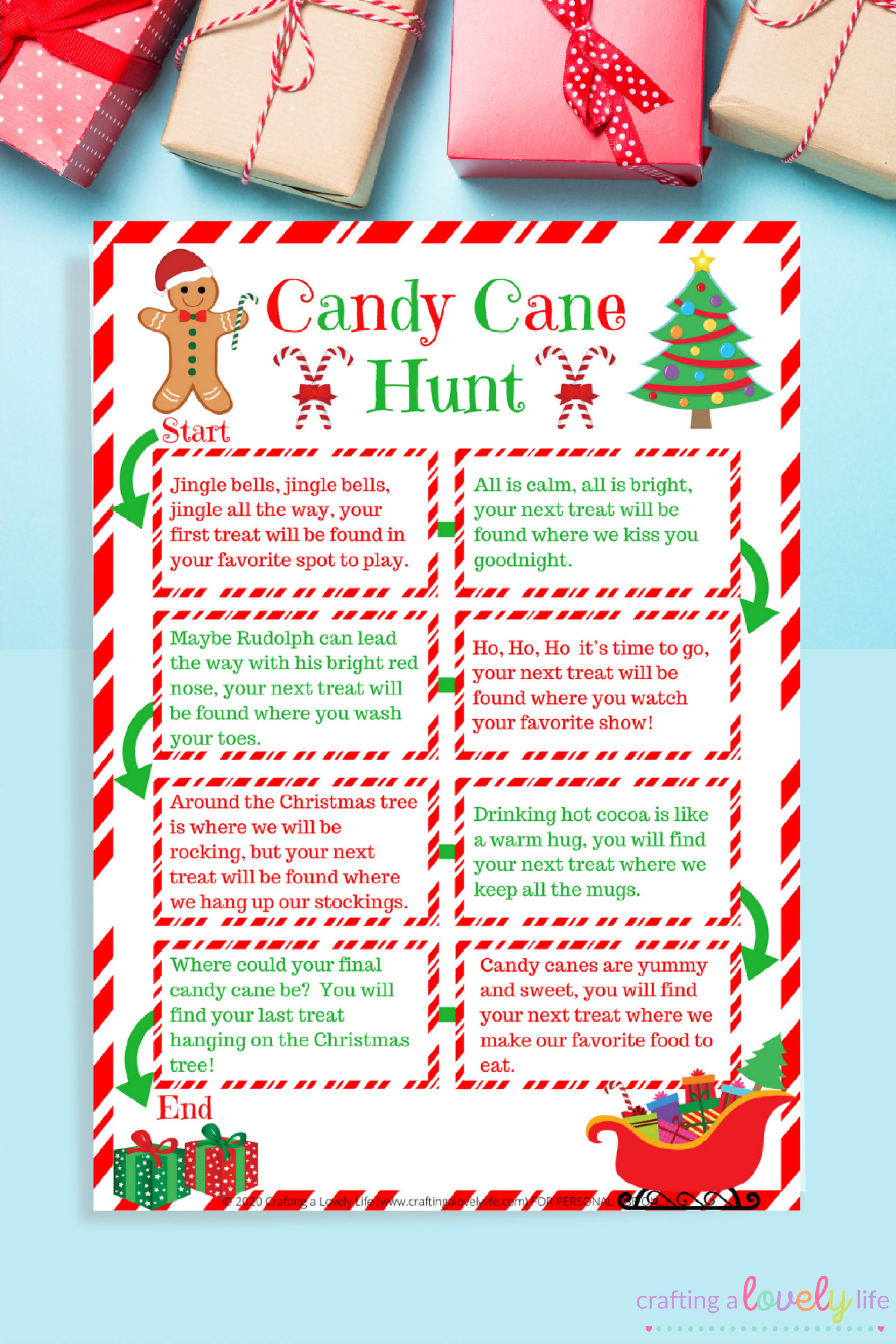 Free Printable Candy Cane Hunt Game