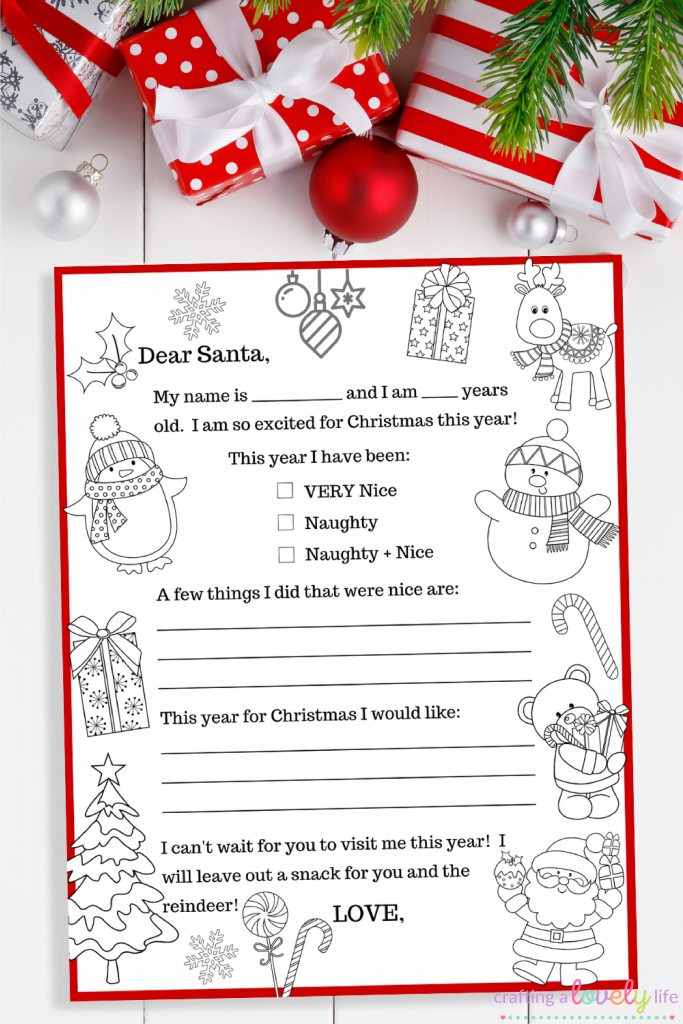 Free Printable Letter to Santa Coloring Page