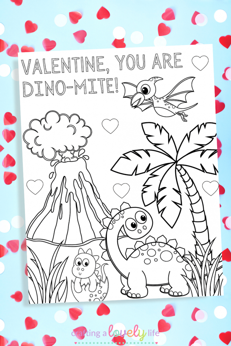 Dinosaur Valentine's Day Coloring Page Free Printable