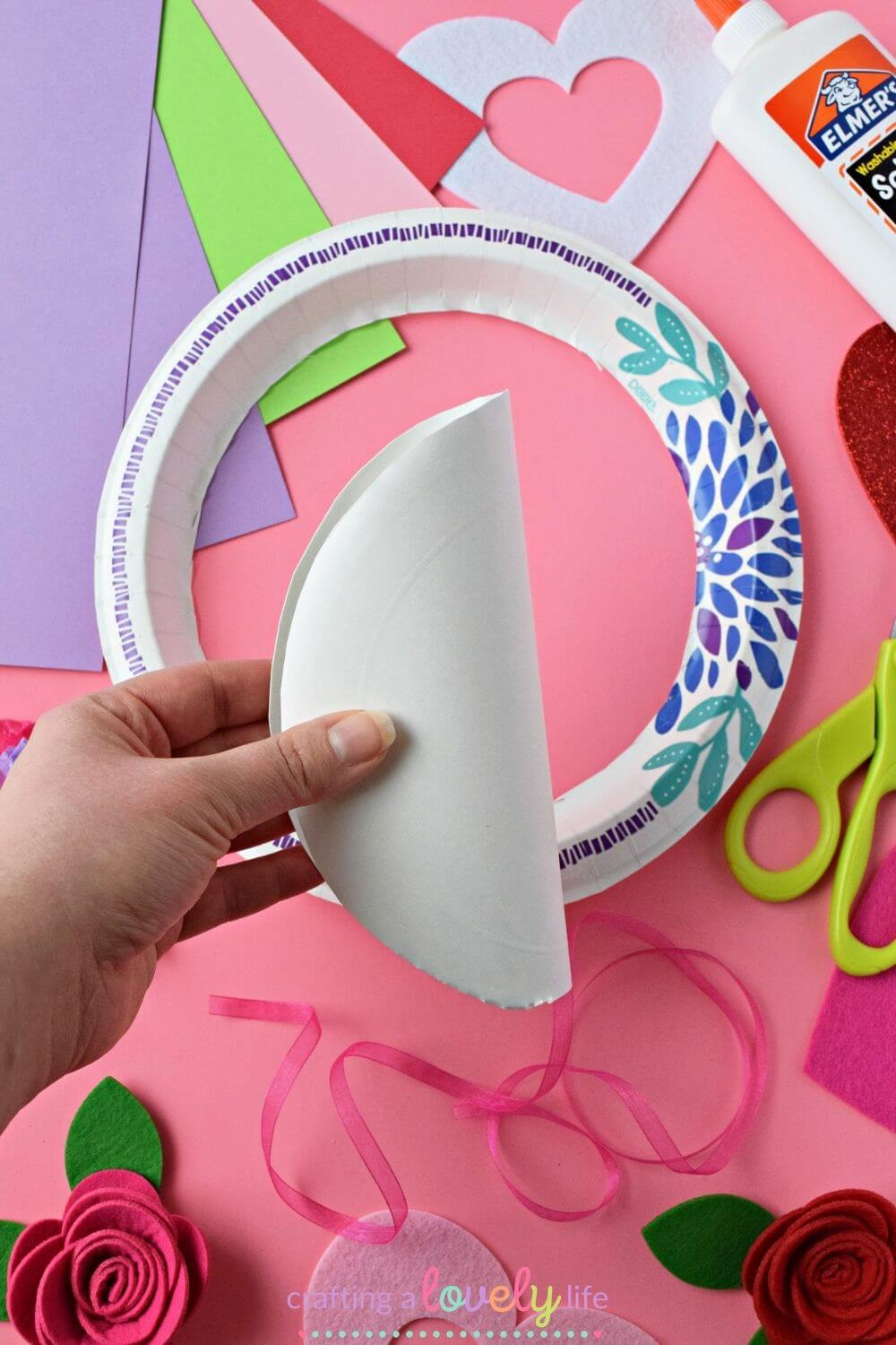 Valentine's Day Paper Plate Wreath