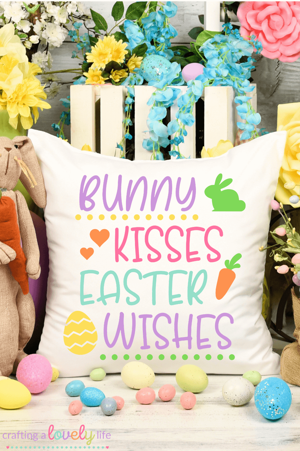 Free Bunny Kisses Easter Wishes SVG Cut File
