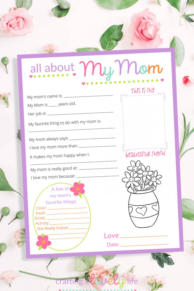 All About My Mom Free Mother's Day Printable