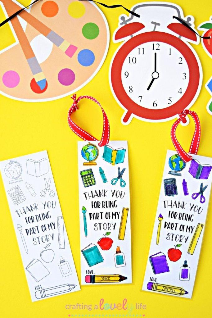 DIY Teacher Appreciation Bookmark Free Printable