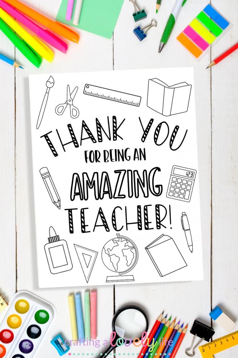 Teacher Appreciation Card Coloring Page Free Printable