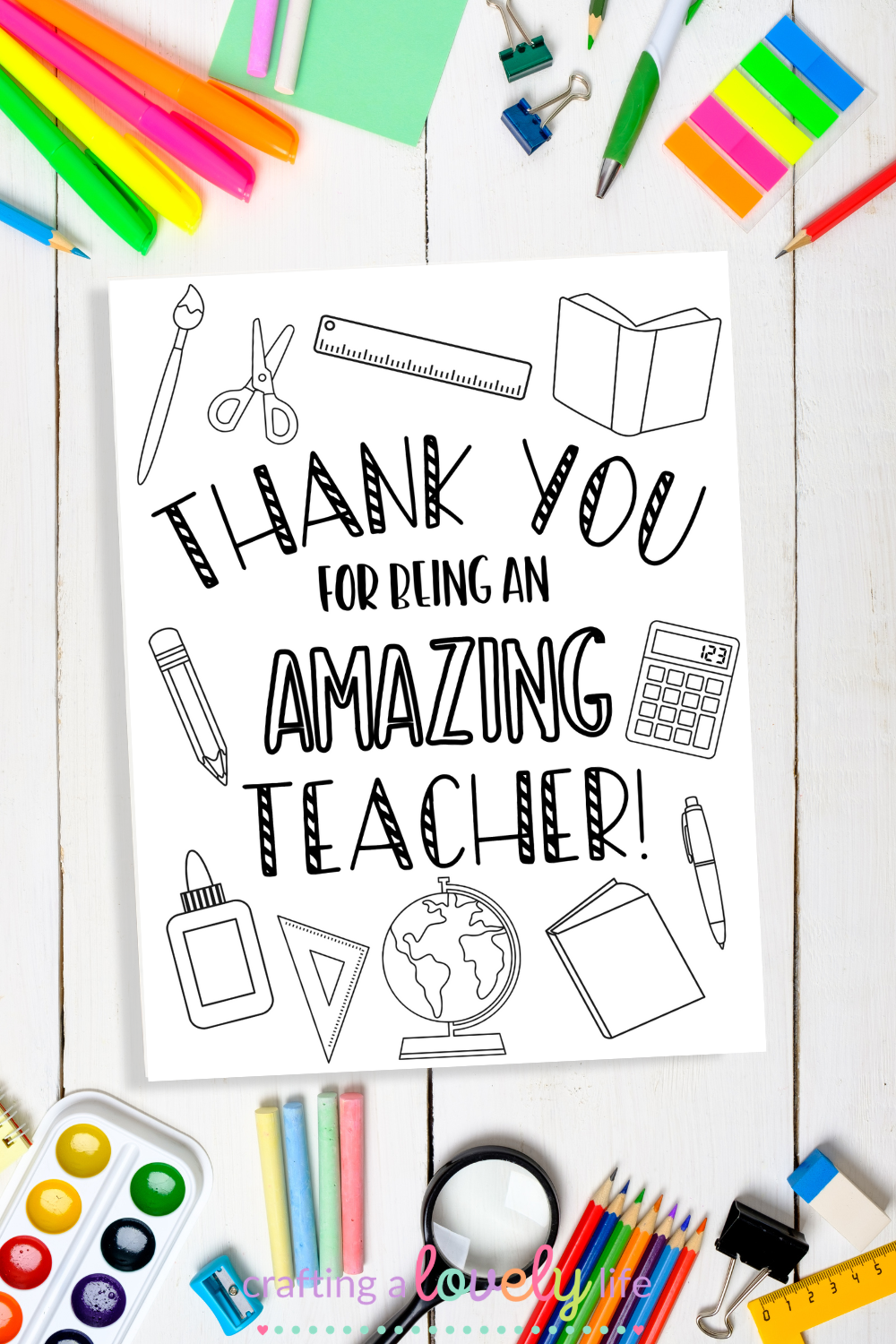 Teacher Appreciation Card Coloring Page Free Printable