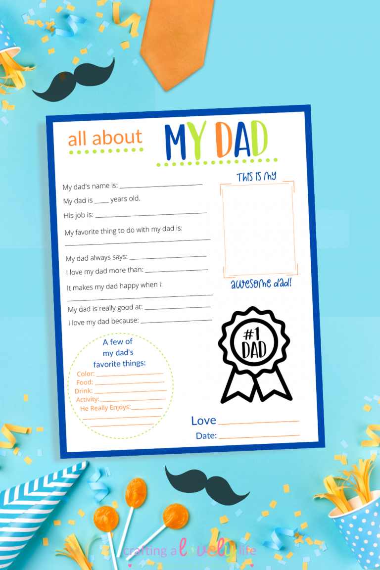 All About My Dad Free Father's Day Printable