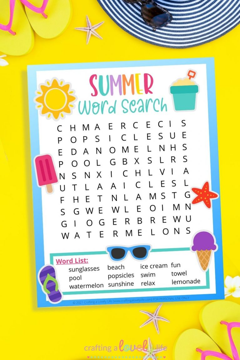 Word Search for Summer – Free Printable