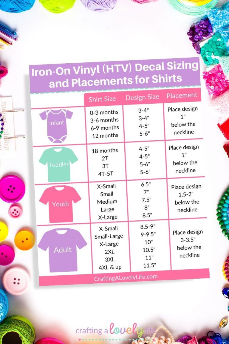 Iron-On Vinyl (HTV) Shirt Sizing & Placement for Shirts