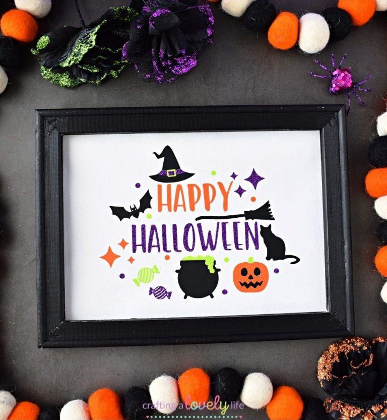 Halloween Reverse Canvas Tutorial with Cricut