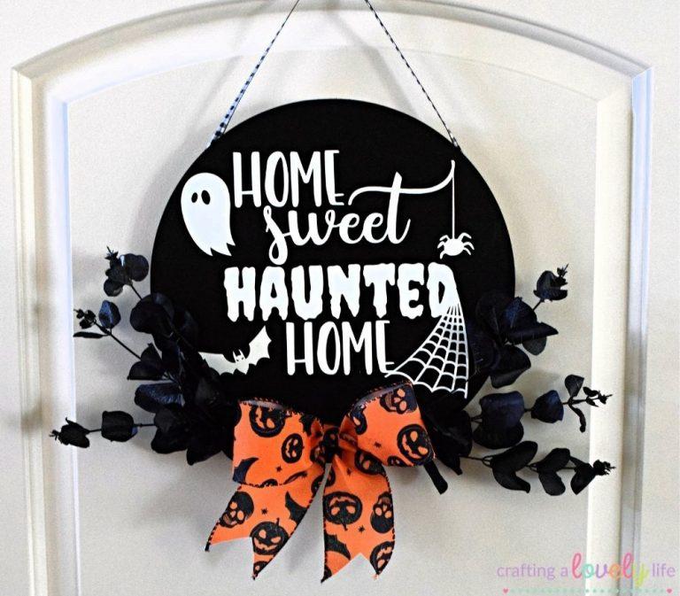 Glow in the Dark Halloween Door Sign Cricut Tutorial